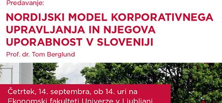 dr. Tom Berglund: Nordijski model korporativnega upravljanja in njegova uporabnost v Sloveniji