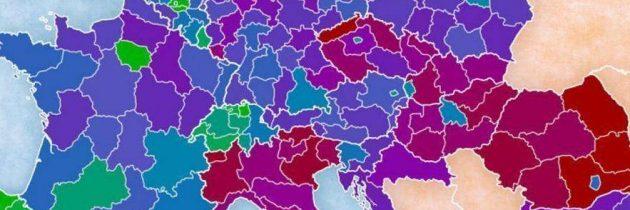 Zemljevid krajev z najvišjo izobrazbo v Evropi