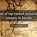 Number of top-ranked universities by country in Europe